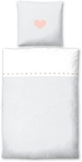 Kinderbettwäsche »Striped Heart«, Biberna, mit Querstreifen & Motiv