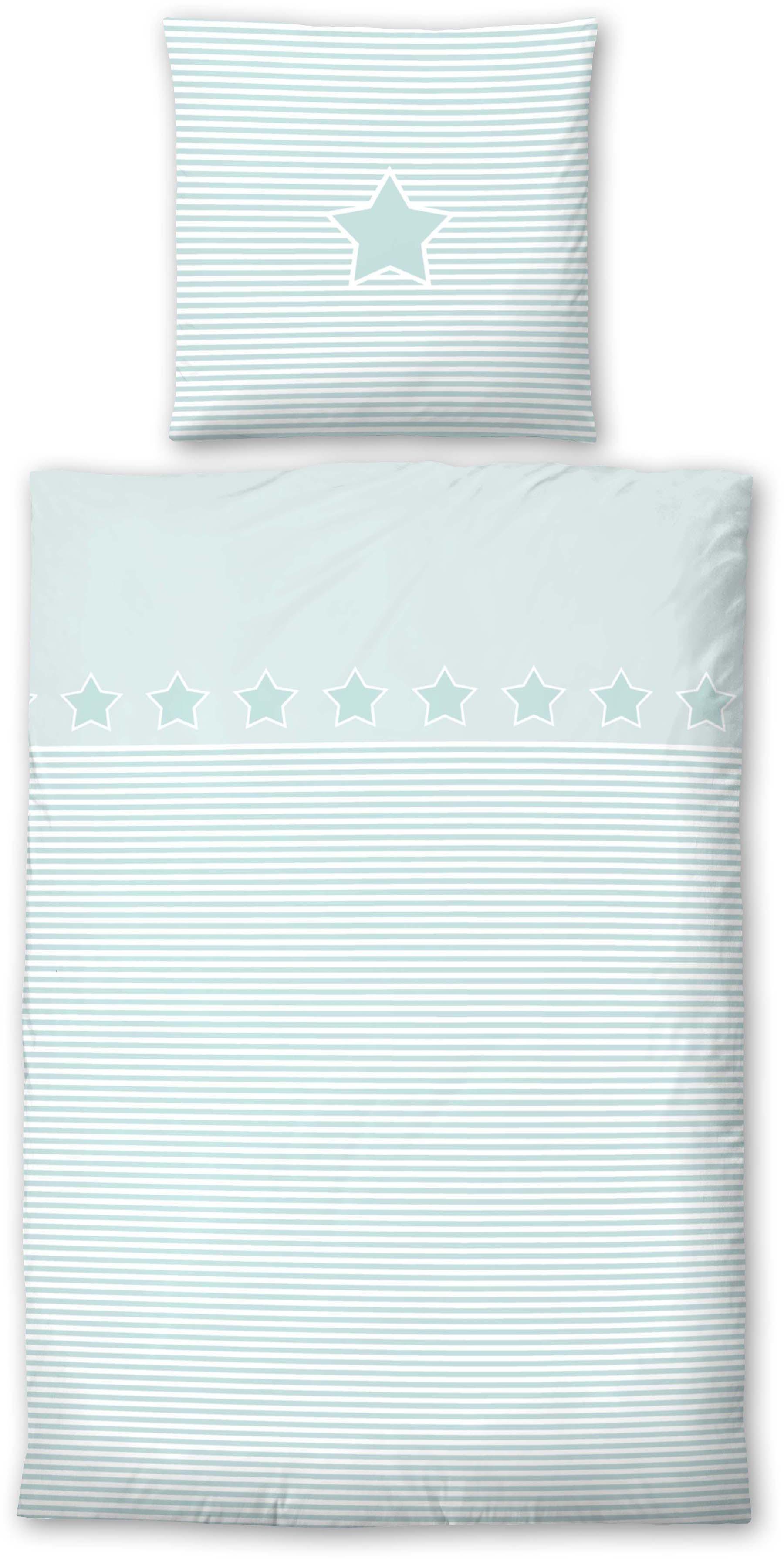 Kinderbettwäsche »Striped Star«, Biberna, mit Querstreifen & Motiv | Kinderzimmer > Textilien für Kinder > Kinderbettwäsche | Biberna