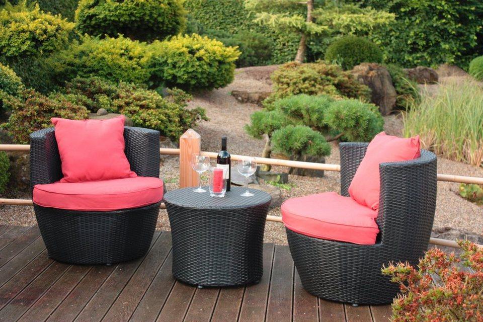 5 tlg gartenm belset linz 2 sessel auflagen tisch 58 cm polyrattan schwarz online. Black Bedroom Furniture Sets. Home Design Ideas