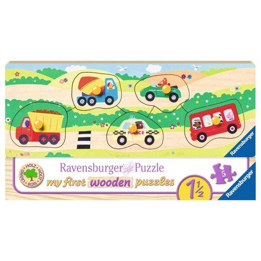Ravensburger Puzzle »Allererste Fahrzeuge - My First Wooden Puzzles«, 5 Puzzleteile