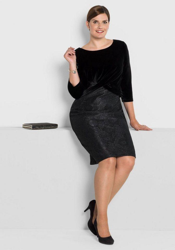 sheego Style Partykleid aus Samt und Spitze in toller 2-in-1-Optik ...
