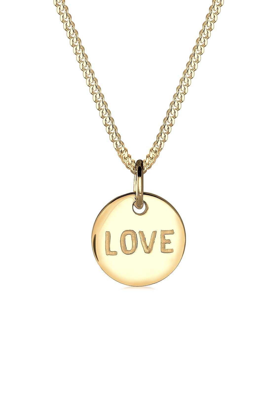 Elli Halskette »Love-Schriftzug Liebe Wording 585 Gelbgold«
