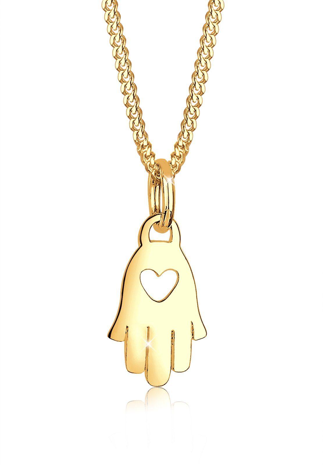 Elli Halskette »Hamsa Hand Herz Symbol Talisman 585 Gelbgold«
