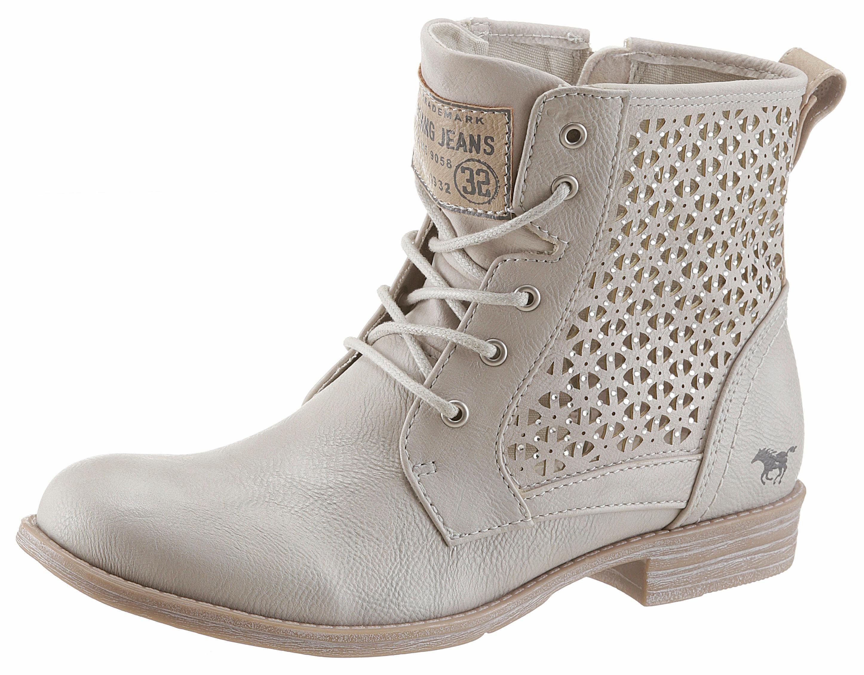 Mustang Shoes Schnürstiefelette, mit Lasercut und Strass-Steinchen online kaufen  ice