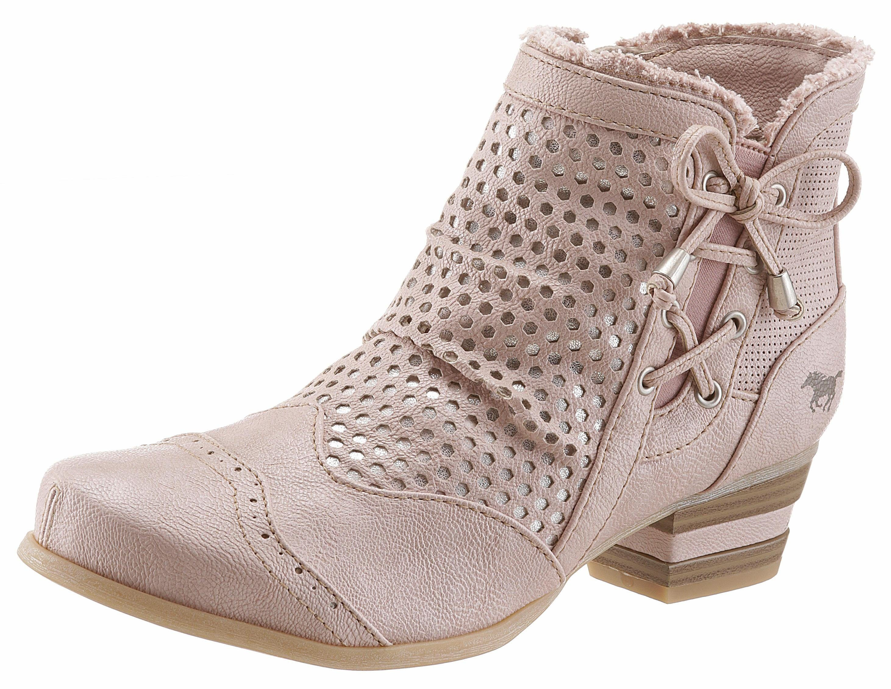 Mustang Shoes Stiefelette, mit Perforation und Zierschleife online kaufen  rosé