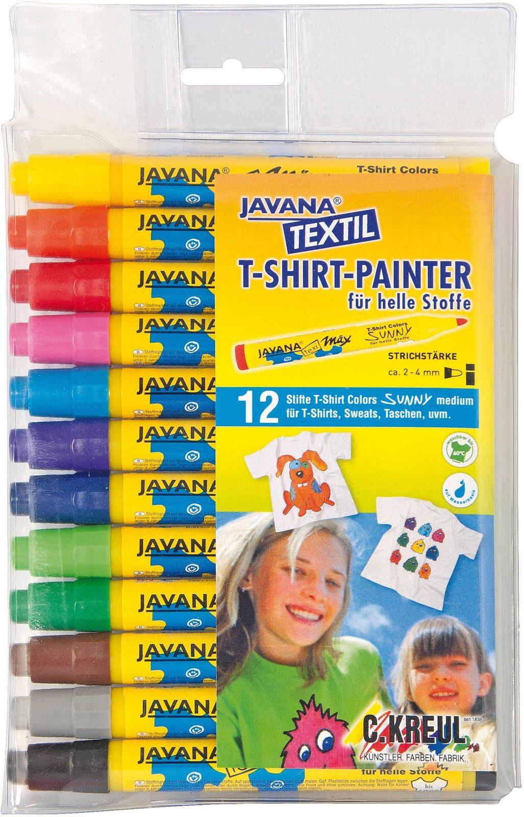 KREUL Textilstifte, »Javana, texi mäxi Sunny medium für helle Stoffe 12er Set «