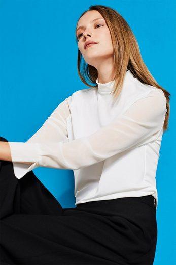 ESPRIT COLLECTION Blusen-Shirt mit Chiffon-Ärmeln
