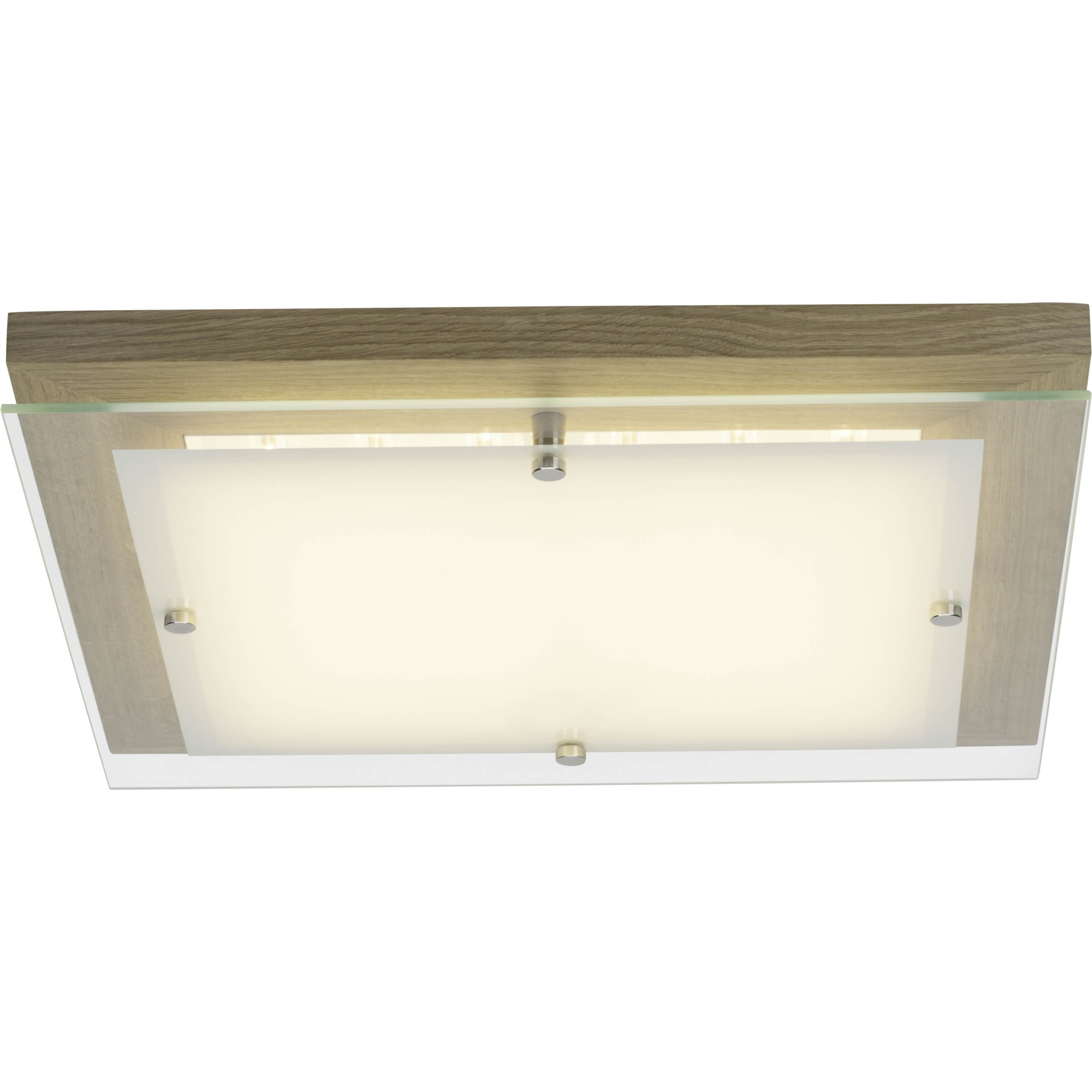 Brilliant Leuchten Hardwood LED Wand- und Deckenleuchte 40x40cm eiche/weiß