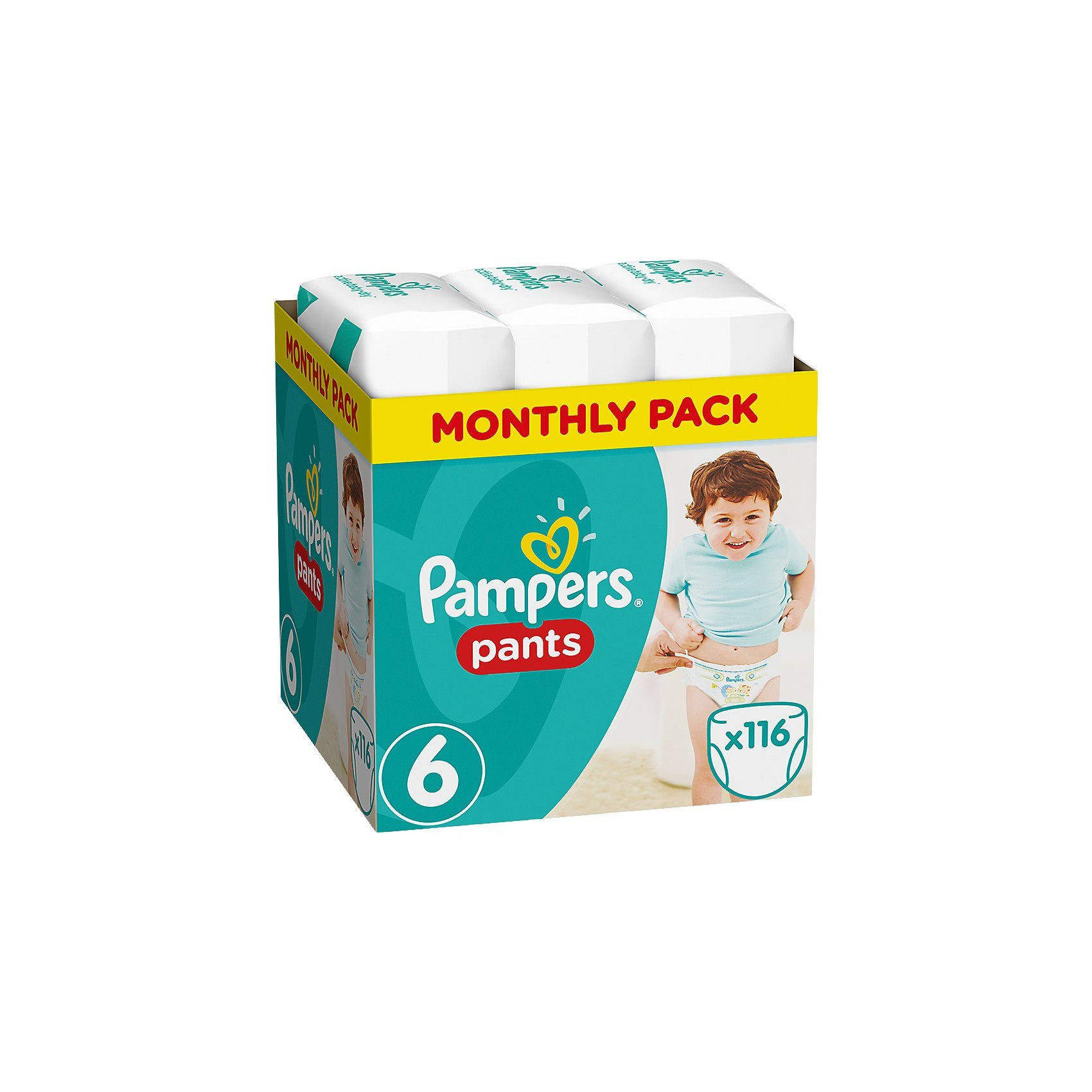 Pampers 1x116 Stück Baby Dry Pants Gr.6 Extra Large 15+kg MonatsBox