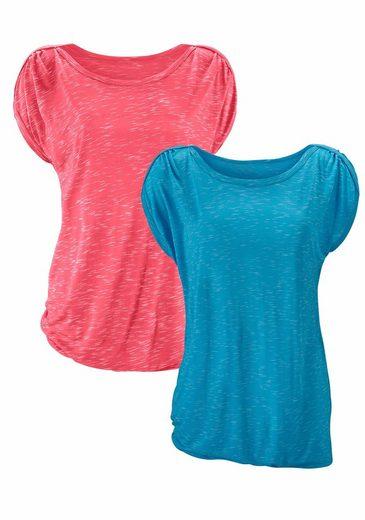 LASCANA T-Shirt mit Schulterraffung (2 Stück)
