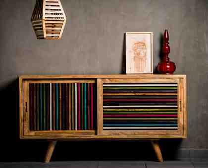 Home affaire Sideboard »Joe«, Breite 120 cm, mit farbigen Holzleisten in den Fronten