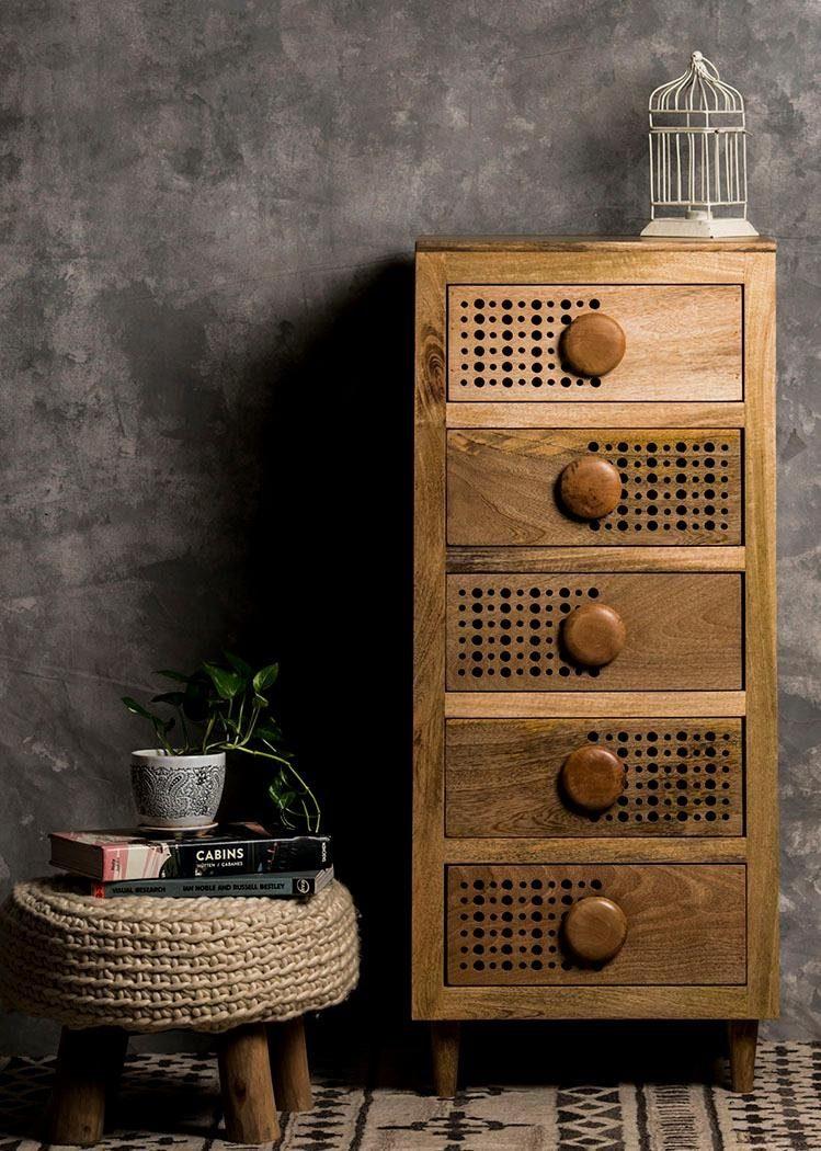 Home affaire Kommode »Dell«, Breite 51 cm, mit dekorativem Lochmuster in den Schubladenfronten