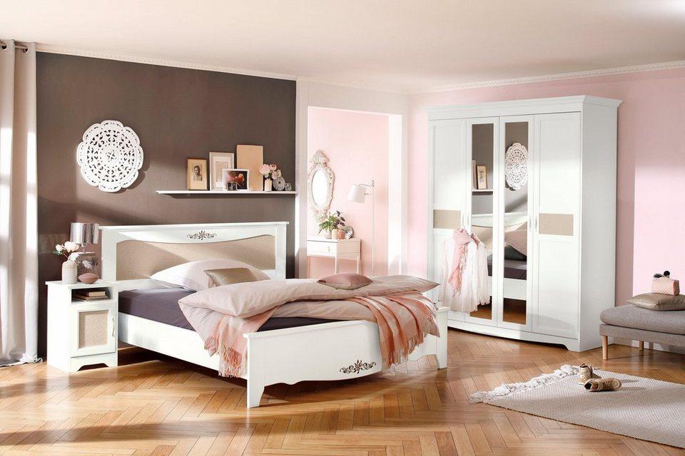 home affaire bett lina in verschieden breiten mit blumendruck und stoffeinsatz online kaufen. Black Bedroom Furniture Sets. Home Design Ideas