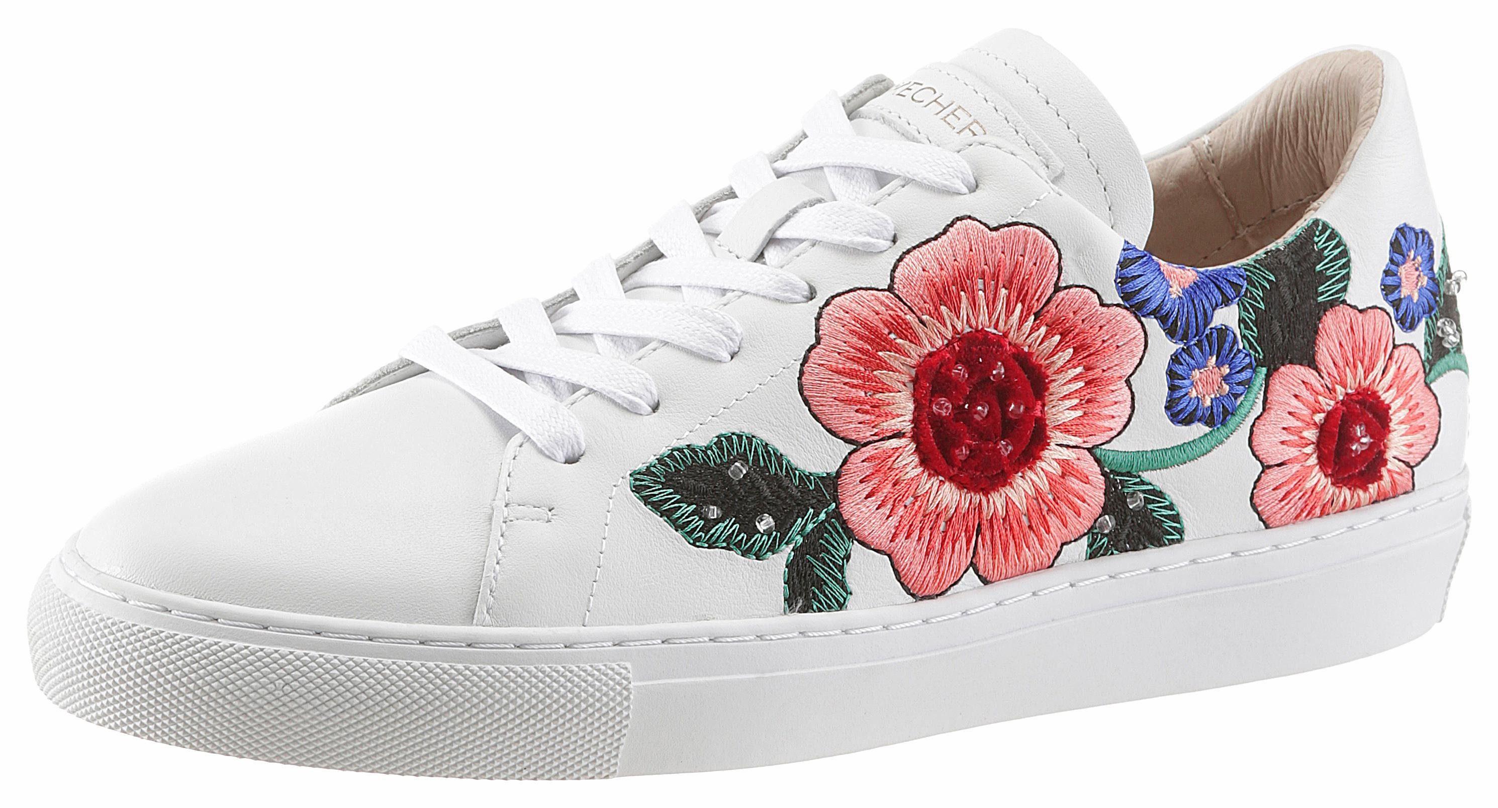 Skechers »Vaso-Flor« Sneaker, mit schöner Stickerei, weiß, weiß-geblümt