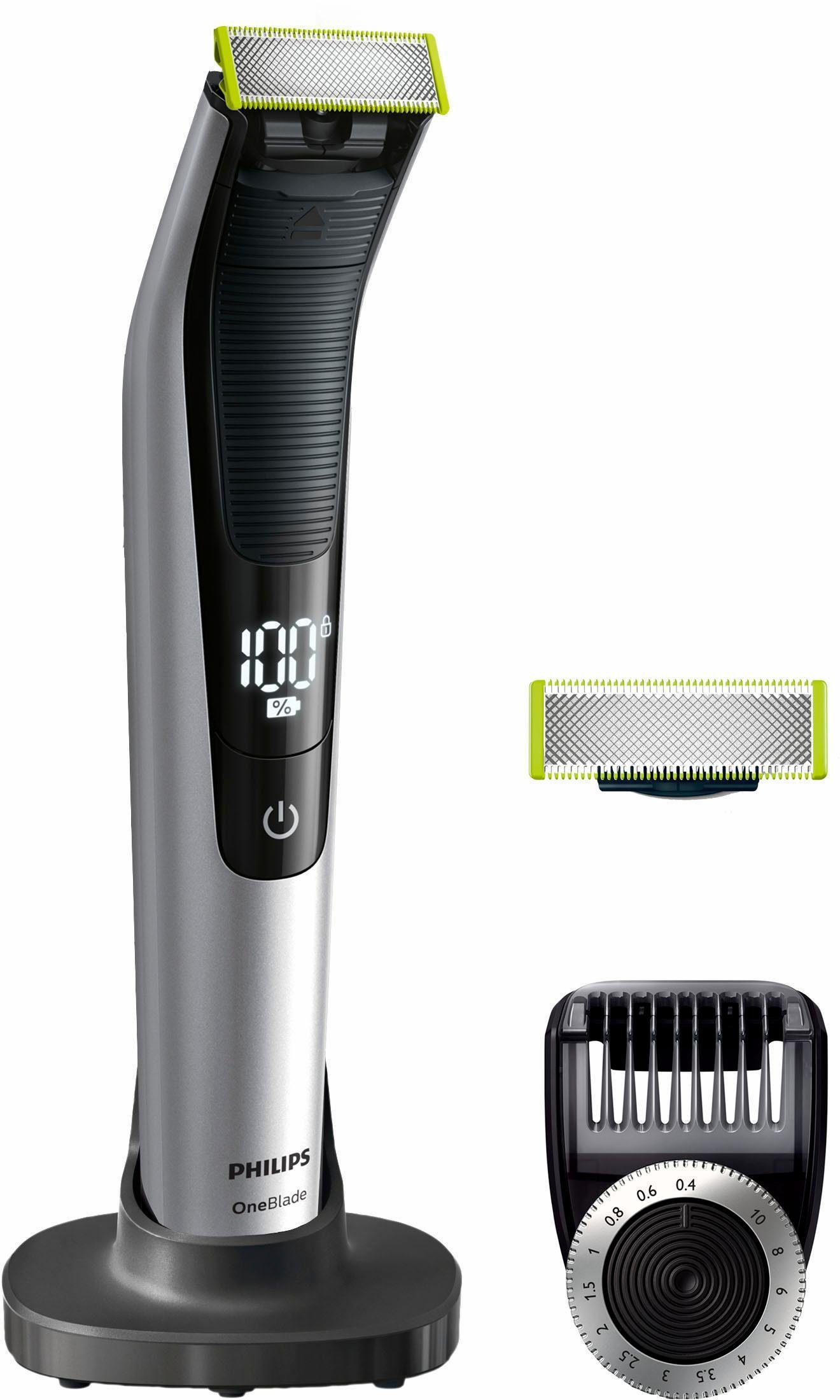 Philips Elektrorasierer OneBlade Pro QP6520/60, Aufsätze: 1, SmartClick-Präzisionstrimmer, mit Ersatzklinge, Akku, Wet&Dry, LED-Display