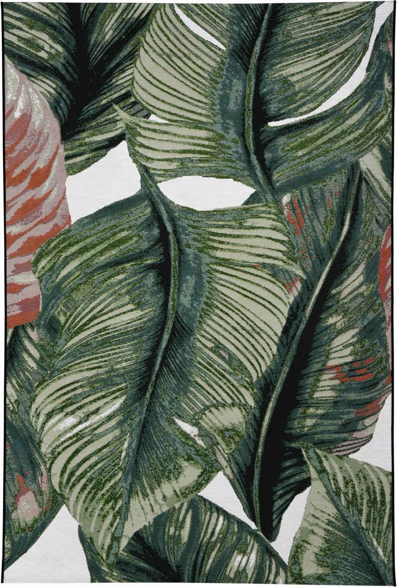 Teppich »Garden Leaf«, TOM TAILOR, rechteckig, Höhe 3 mm, Flachgewebe, In- und Outdoor geeignet, Wohnzimmer