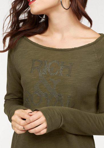 Rich & Royal Langarmshirt, mit Logo-Schriftzug in Glitzeroptik