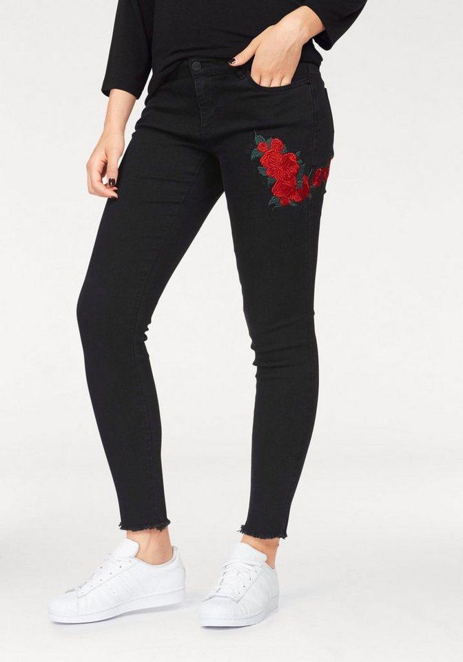 1c0a3f3517df Noisy may Skinny-fit-Jeans »LUCY ROSE« mit Stickerei und ausgefranstem Saum