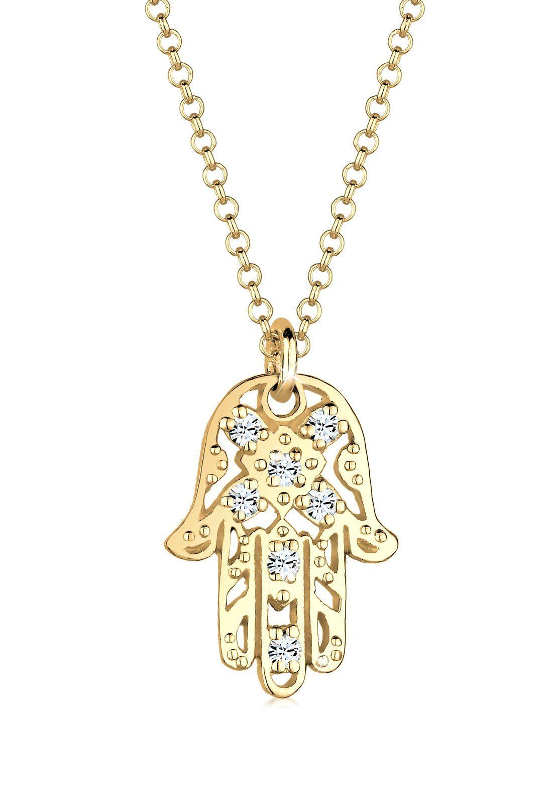 Elli Halskette »Hamsa Swarovski® Kristalle 925 Sterling Silber«