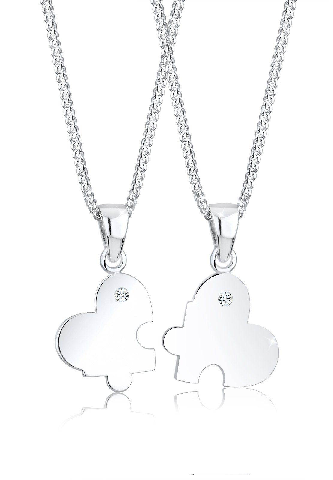 Elli Set: Halskette »Partnerkette Herz Swarovski® Kristalle 925 Silber« 2 tlg.