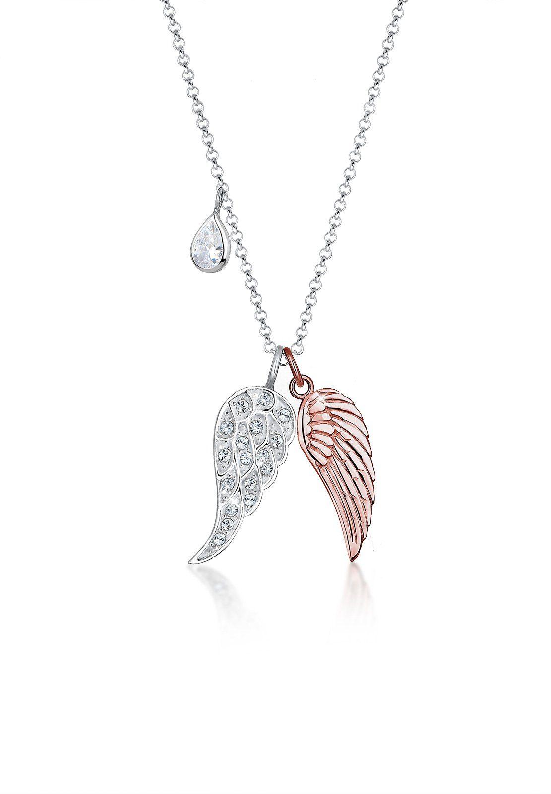 Elli Halskette »Flügel Bi-Color Swarovski® Kristalle 925 Silber«