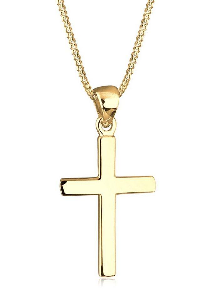 Goldkette mit kreuz  Elli Halskette »Religion Kreuz Kommunion Konfirmation 925 Silber S ...