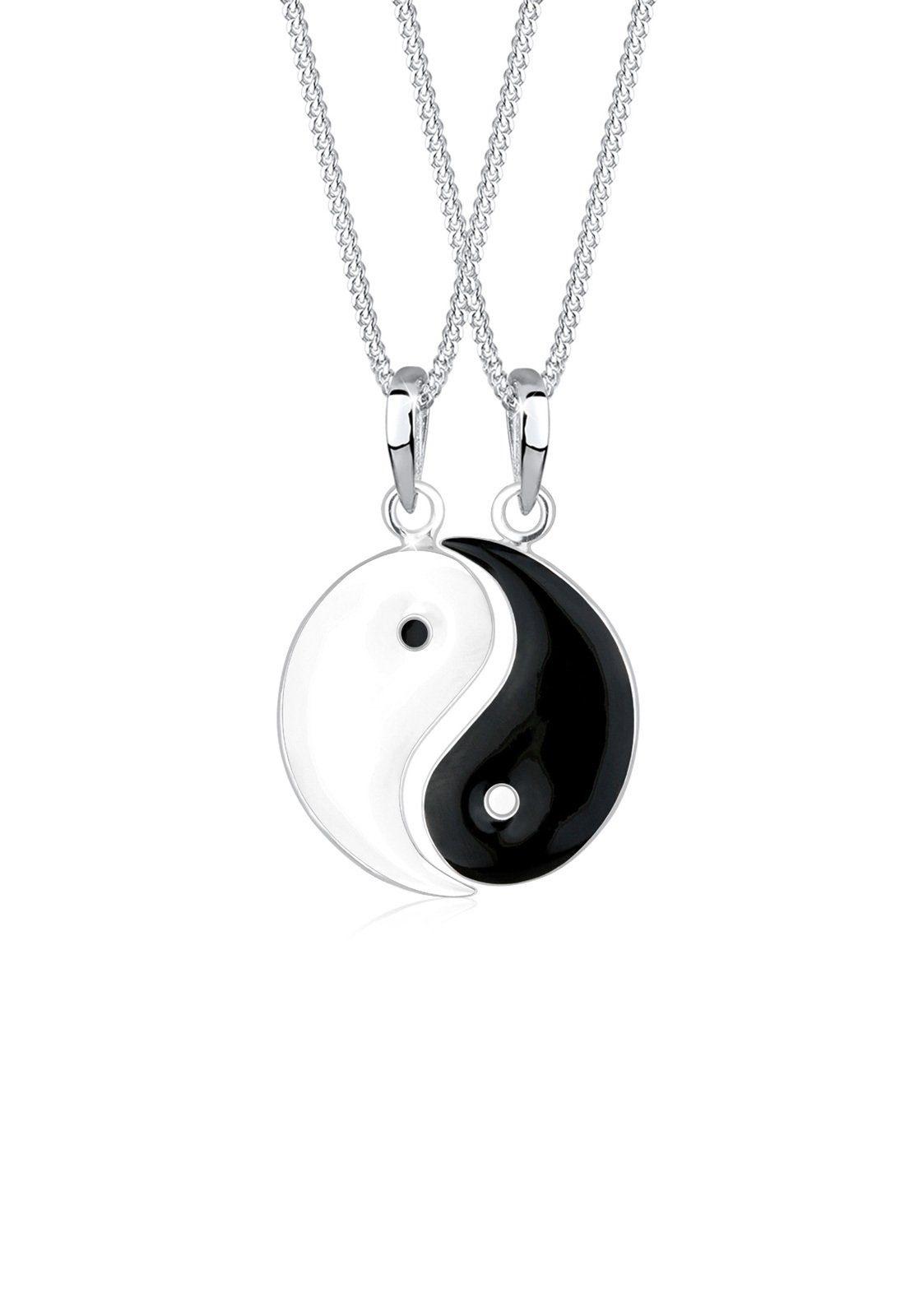 Elli Set: Halskette »Partnerketten Yin Yang 925 Sterling Silber« 2 tlg.
