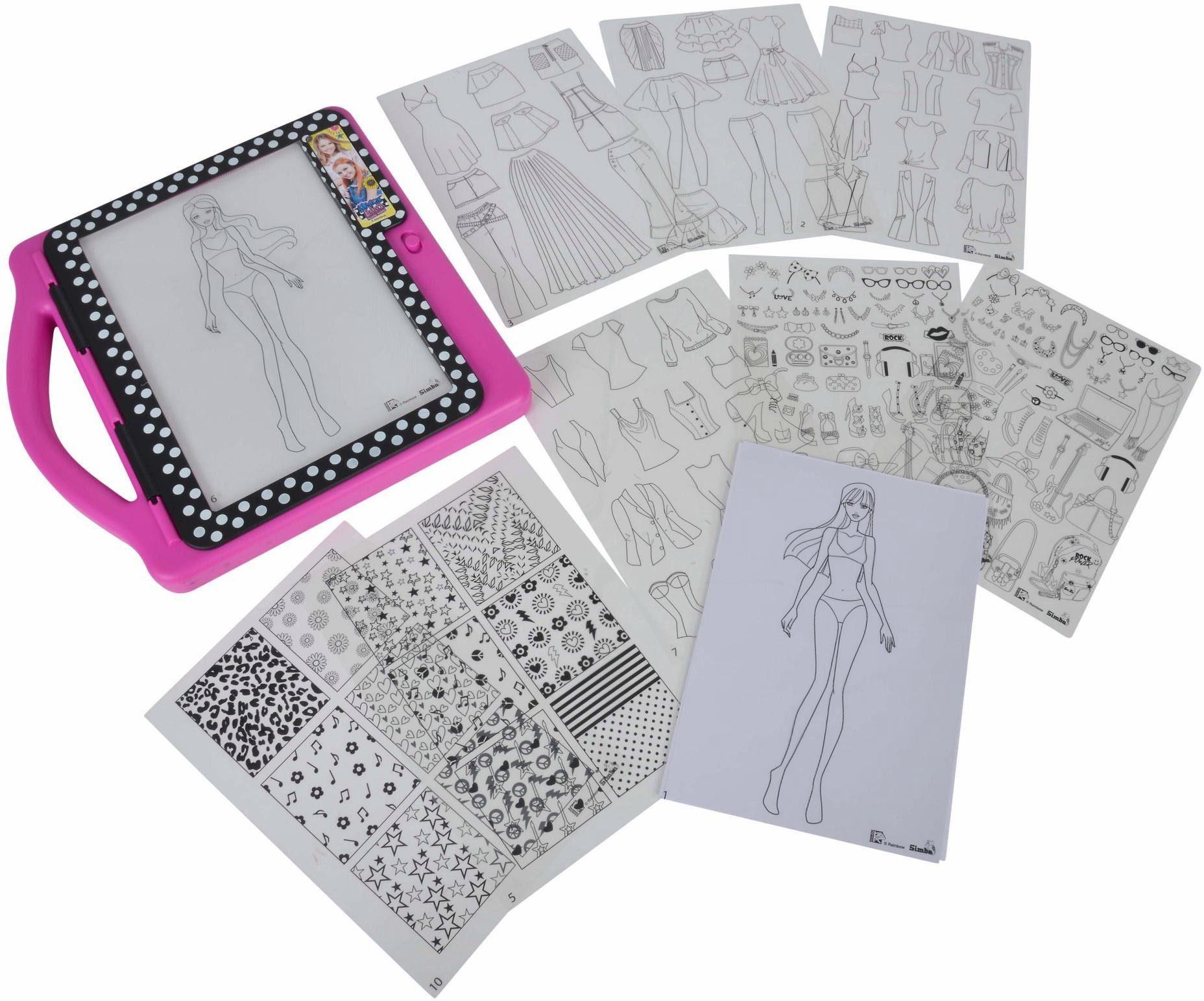 Simba Malunterlage mit Leuchtfläche, »Maggie & Bianca Fashion, Fashion Design Tablet«
