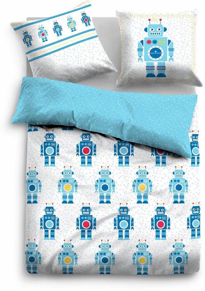 Kinderbettwäsche »Beni«, TOM TAILOR, mit Robotern | Kinderzimmer > Textilien für Kinder > Kinderbettwäsche | Blau | Baumwolle | TOM TAILOR