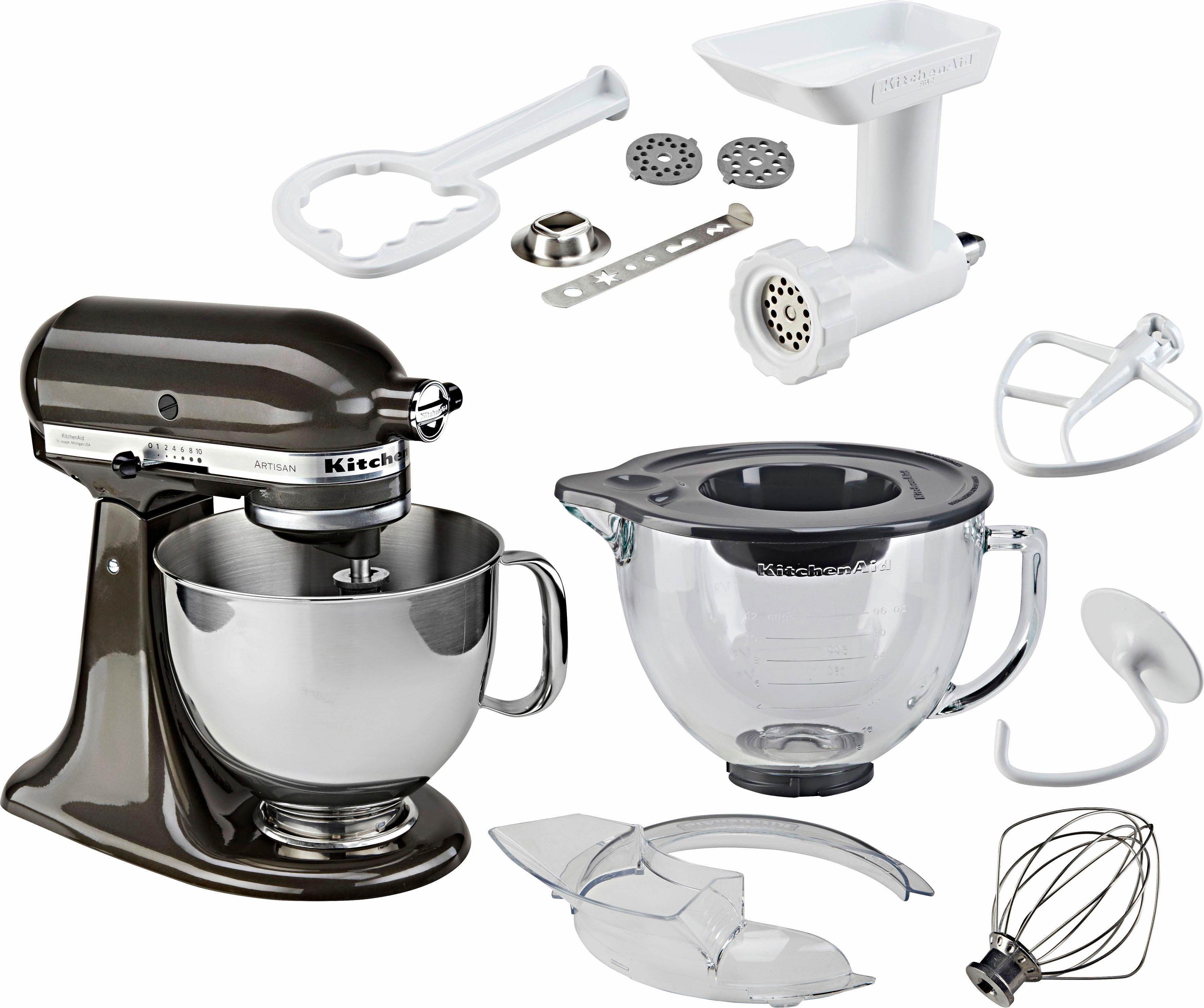 KitchenAid Küchenmaschine Artisan 5KSM156EBZ, 300 W, 4,83 l Schüssel, mit großer Glasschüssel und Sonderzubehör im Wert von ca. 205,-€