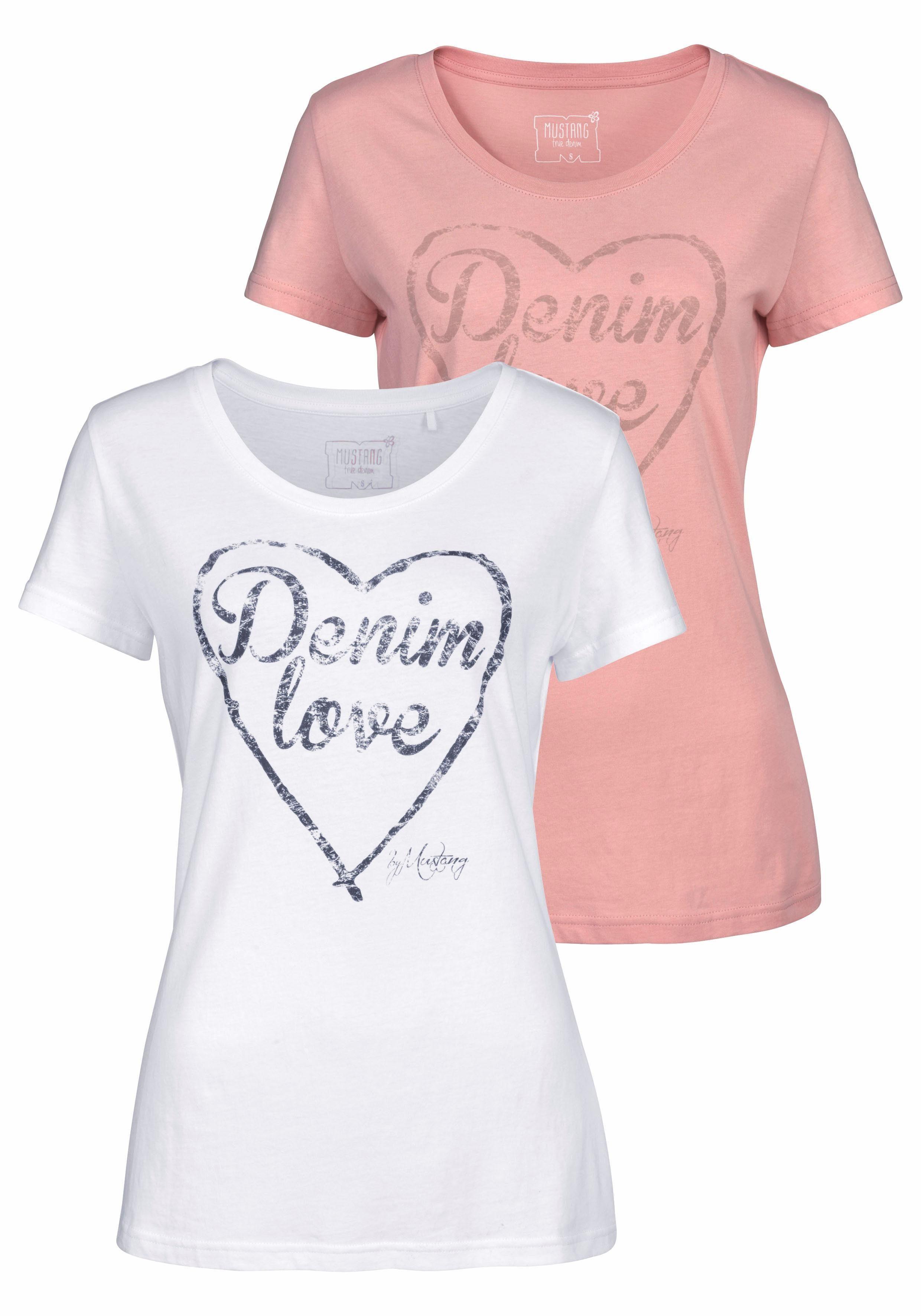 MUSTANG T-Shirt (Packung, 2-tlg., 2er-Pack) Logo-Frontprint