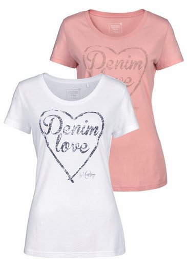 MUSTANG T-Shirt (Packung, 2 tlg., 2er-Pack), Logo-Frontprint