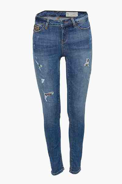 ESPRIT Vintage-Stretch-Denim mit Brokat-Details