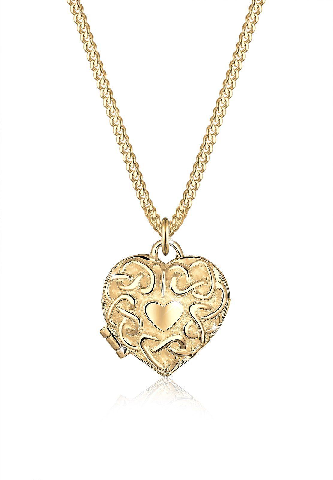 Elli Halskette »Herz Ornament Amulett Medaillon 585 Gelbgold Lucy«