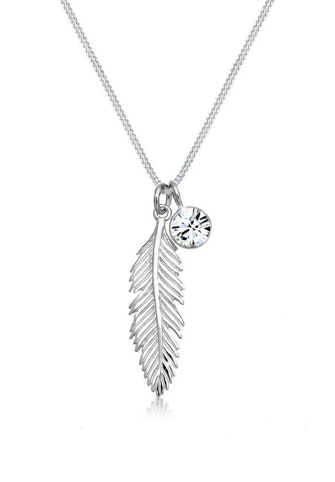 Goldkette mit federanhänger  Elli Halskette »Feder Swarovski Kristalle 925 Sterling Silber S01 ...