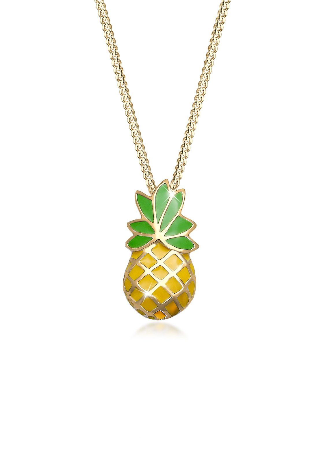 Elli Halskette »Ananas Tropical Frucht Emaille 925 Sterling Silber«