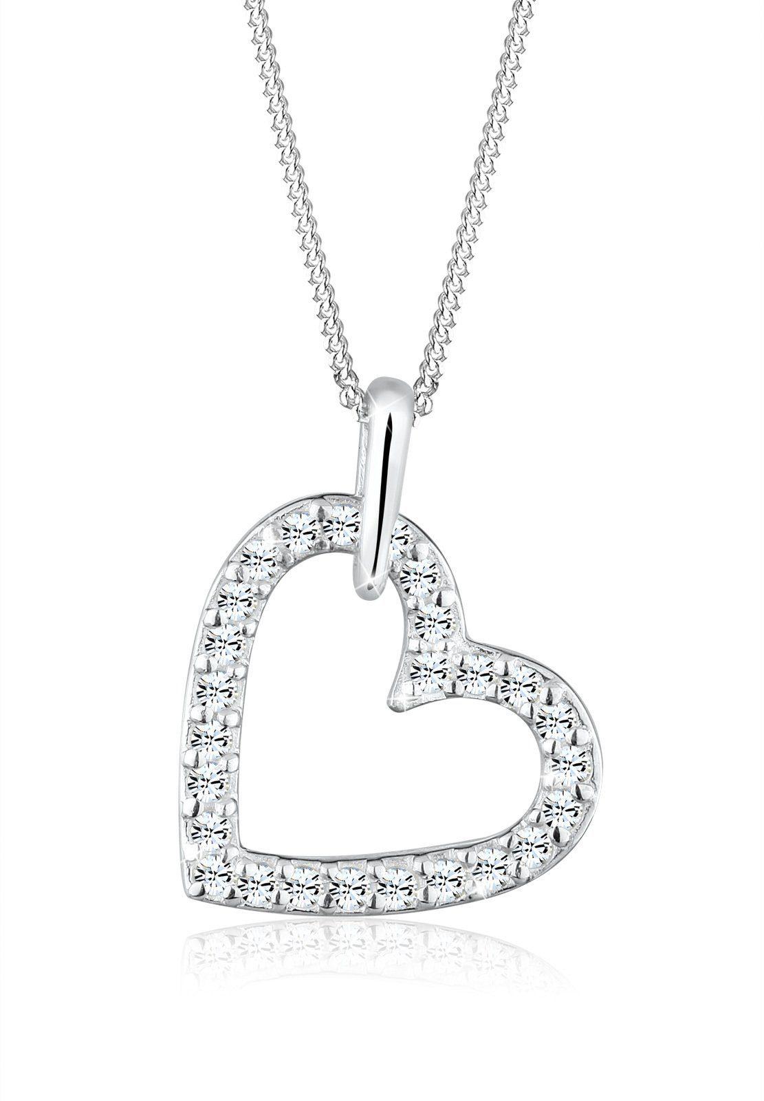 Elli Halskette »Herz Swarovski Kristalle 925 Sterling Silber S010«