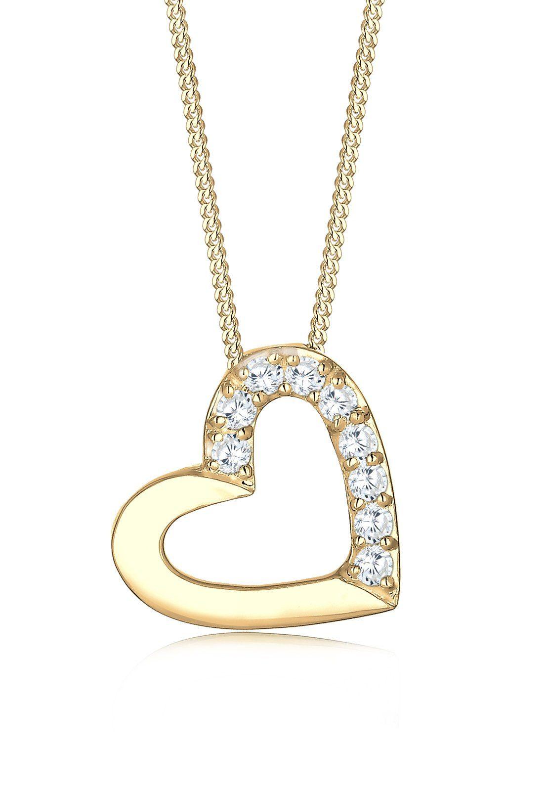 Elli Halskette »Herz Zirkonia 585 Gelbgold Viktoria«
