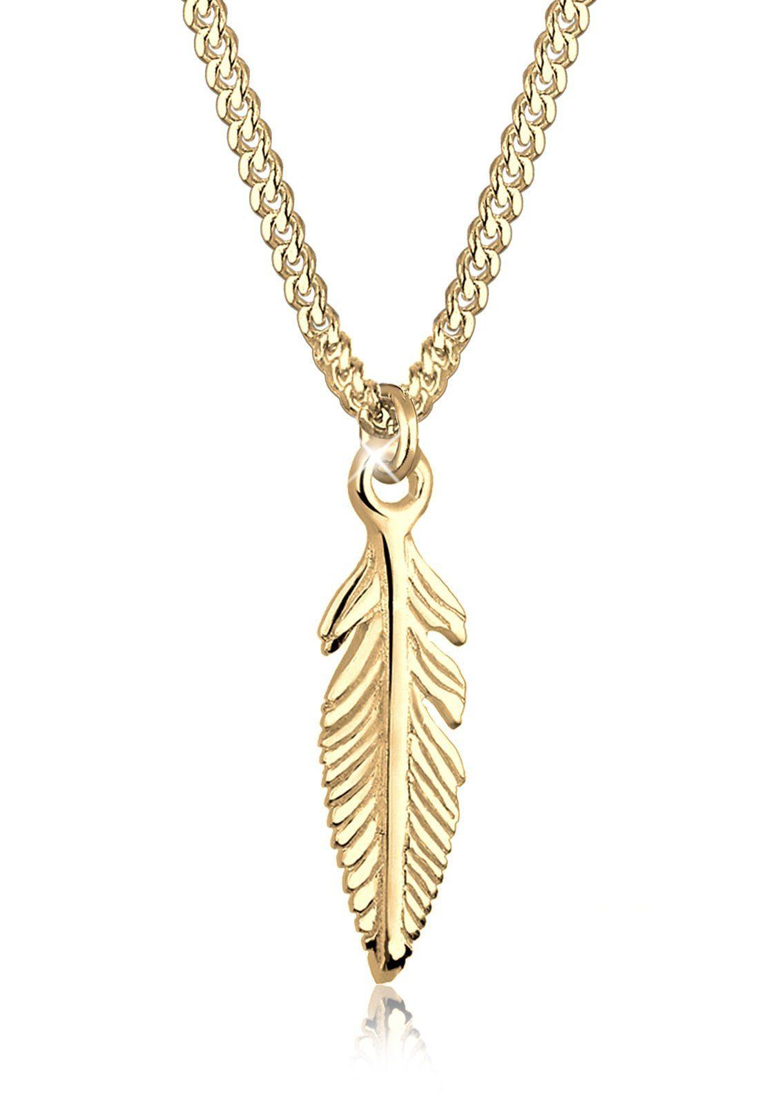 Elli Halskette »Feder Boho 585 Gelbgold«