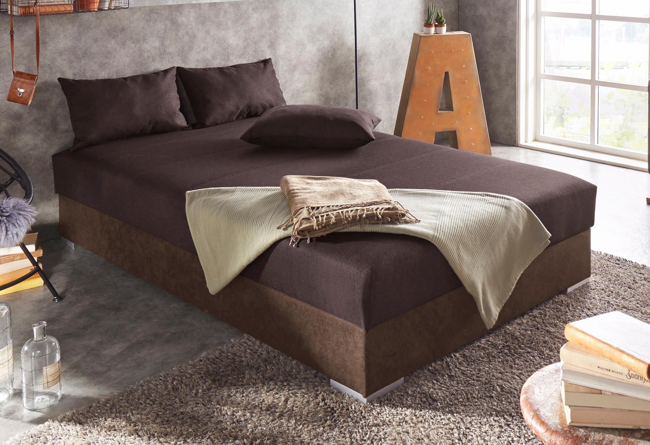Hapo Polsterliege, mit Bettkasten | Schlafzimmer > Schlafsofas > Schlafsofas & Polsterliegen | Federn - Strukturstoff | hapo