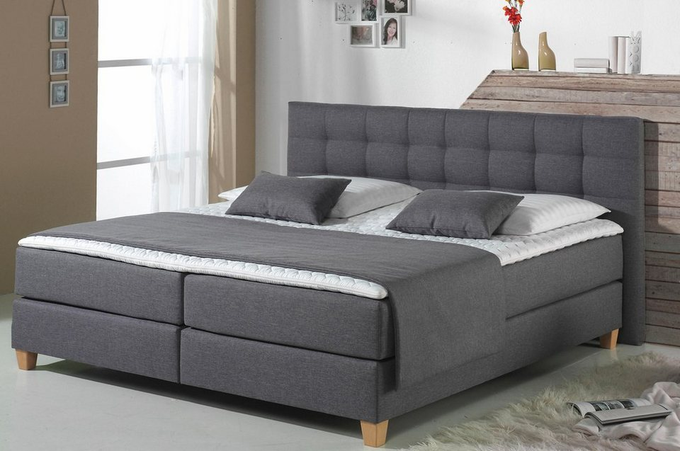home affaire boxspringbett tommy xxl in berl nge 220 cm. Black Bedroom Furniture Sets. Home Design Ideas
