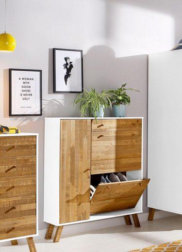 Home affaire Schuhschrank «Rondo», Breite 100 cm, mit 1 Schubalde, 1 Tür und 2 Schuhklappen