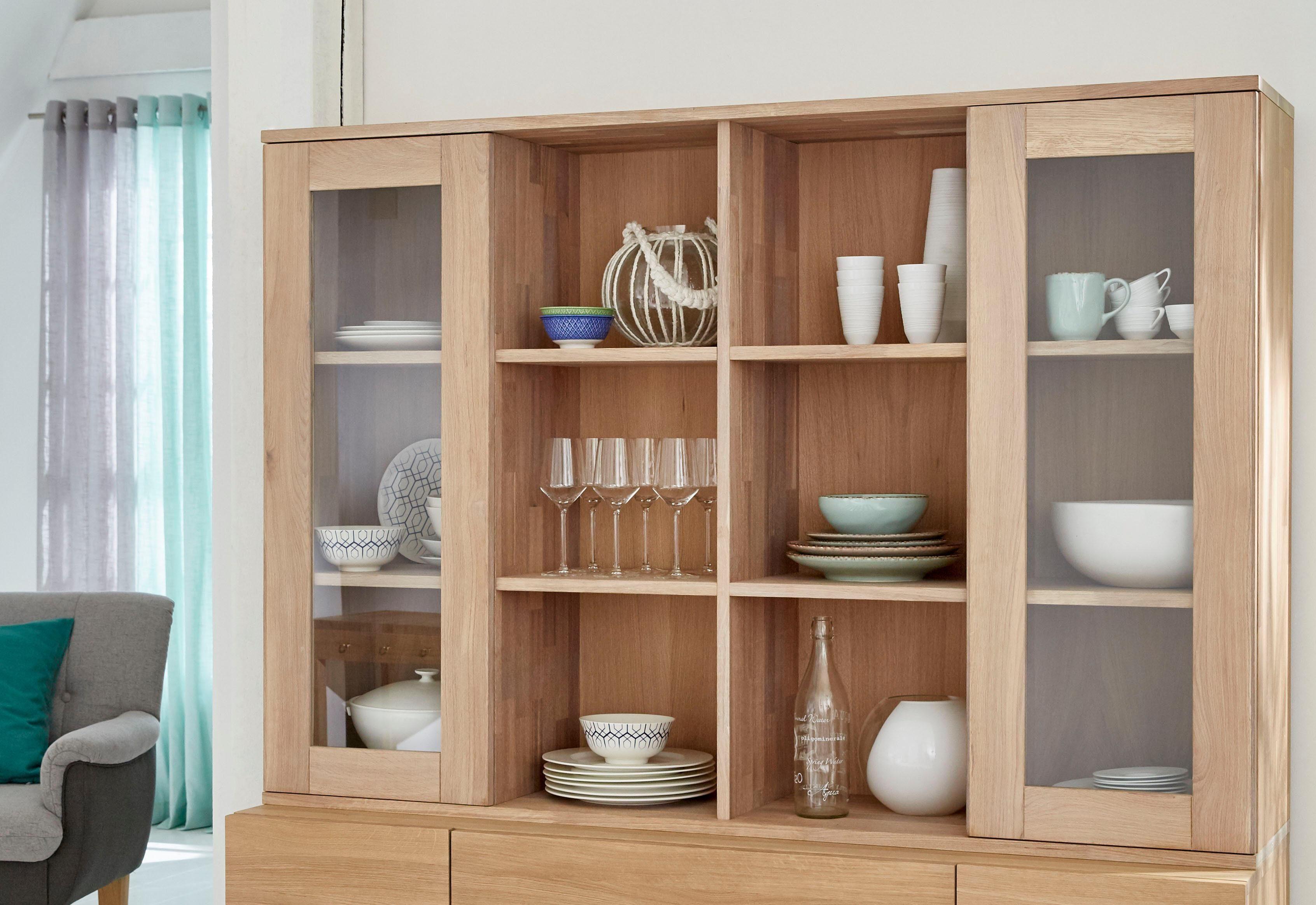 GMK Home & Living Buffetaufsatz «Evenio», aus massiver Eiche, Breite 160 cm