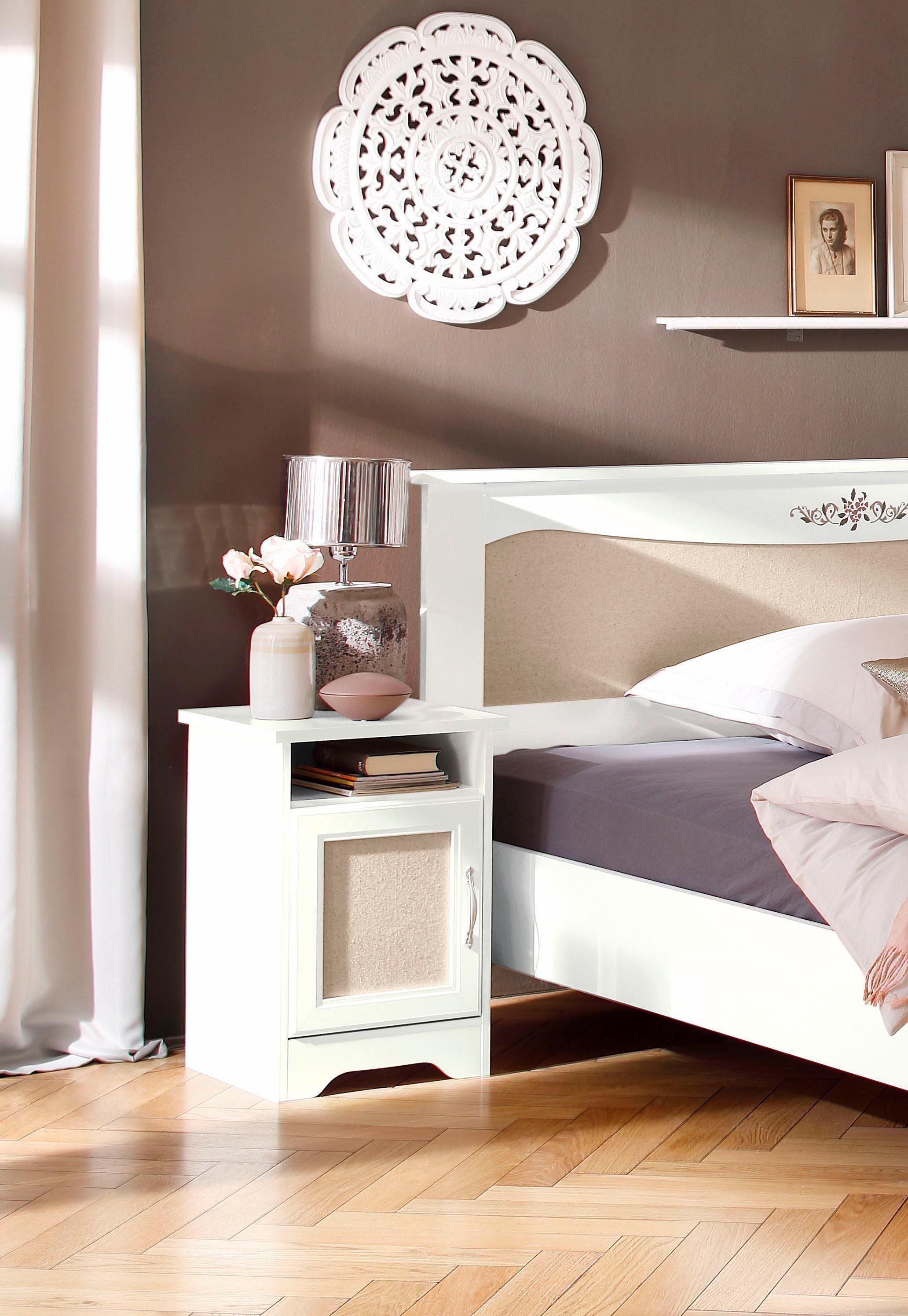 Home affaire Nachttisch »Lina«, Breite 44 cm mit Strukturstoffeinsatz
