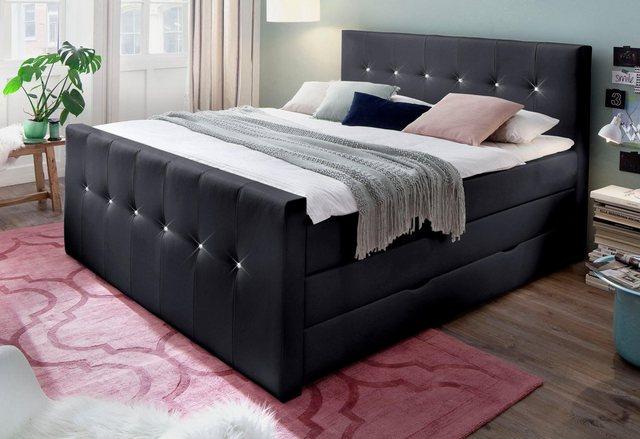 Betten - meise.möbel Boxspringbett, mit Bettkasten, wahlweise veredelt mit Swarovski Kristallen › 184 cm x 226 cm › schwarz  - Onlineshop OTTO