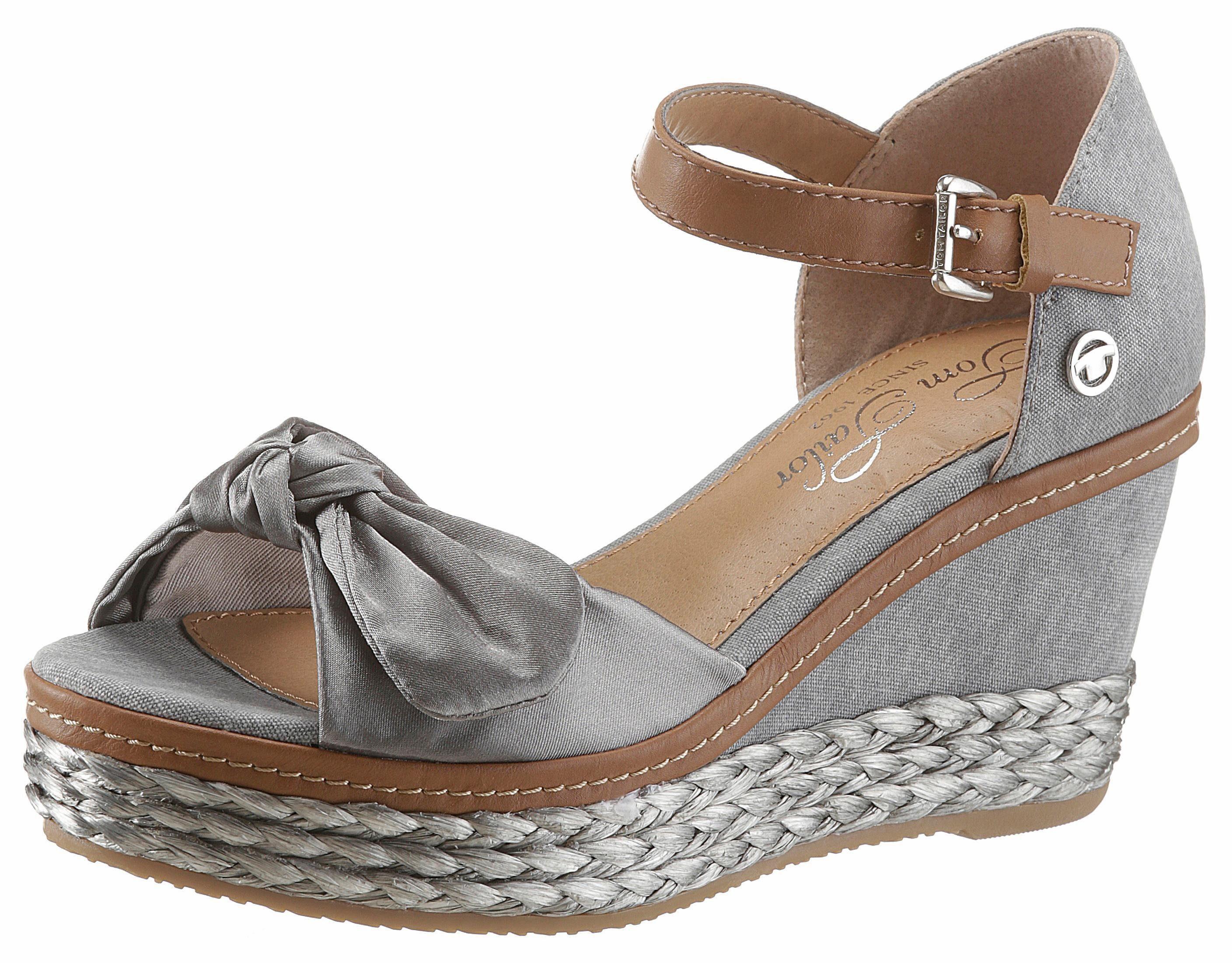 Tom Tailor Sandalette, mit Zierschleife in Satinoptik online kaufen  grau-braun