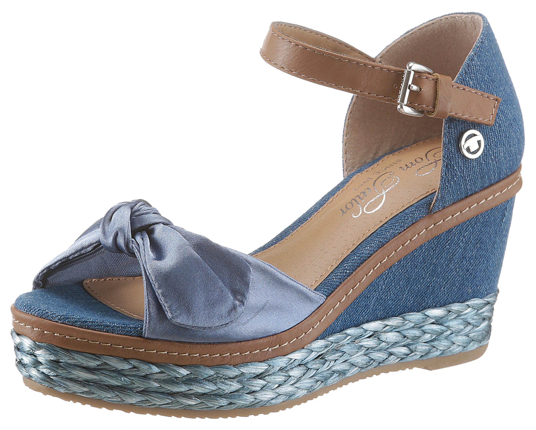 Tom Tailor Sandalette, mit Zierschleife in Satinoptik online kaufen  jeansblau-braun