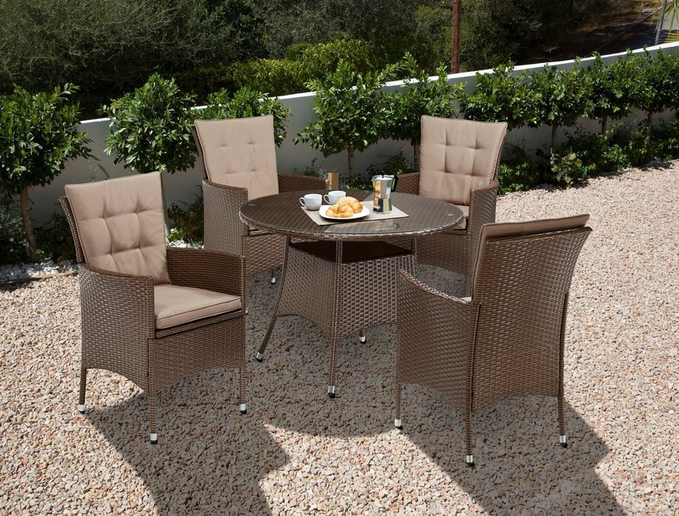 gartenm belset santiago new 4 sessel tisch 100 cm polyrattan online kaufen otto. Black Bedroom Furniture Sets. Home Design Ideas
