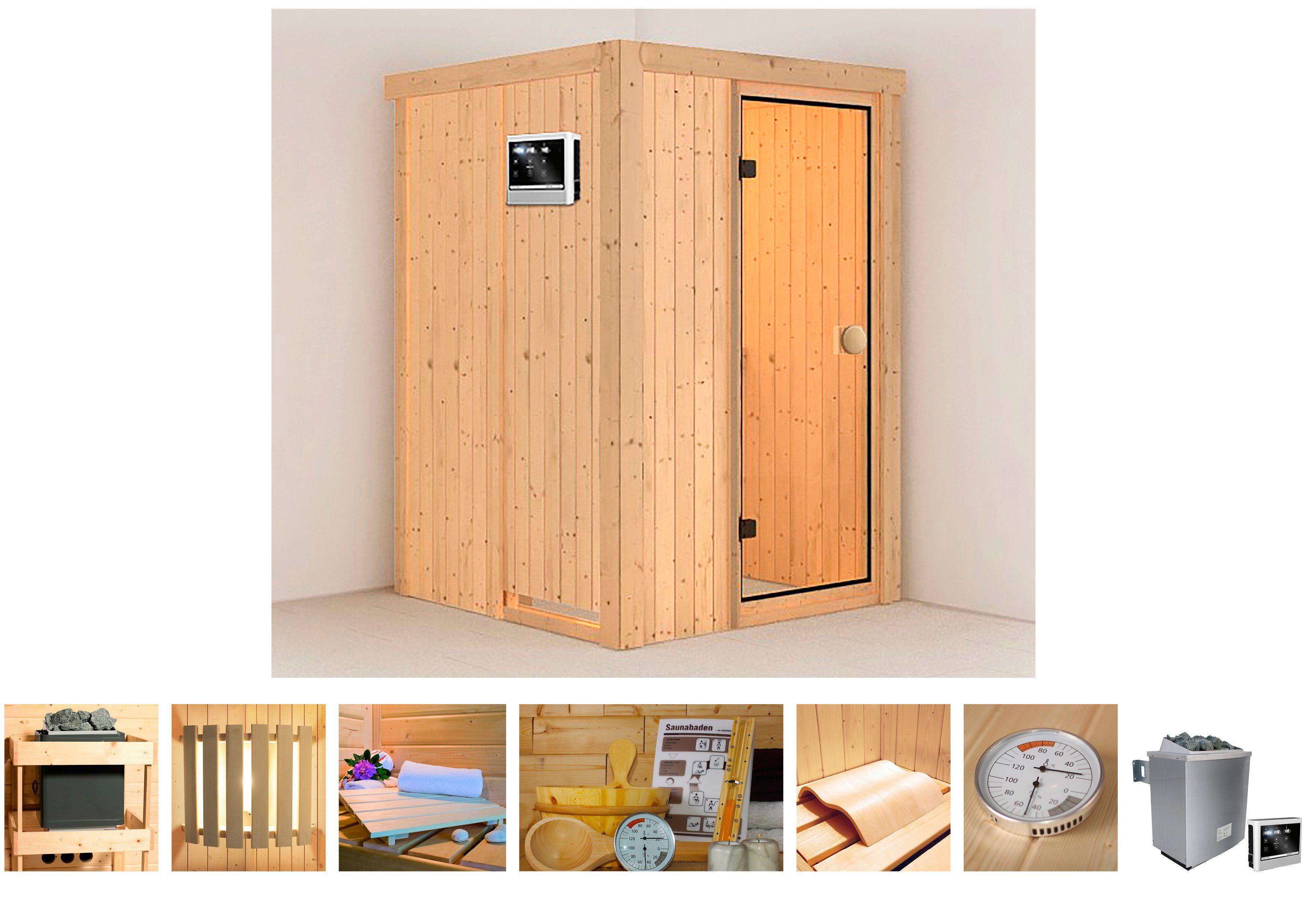 KONIFERA Sauna »Linda«, 135/135/198 cm, 9-KW-Ofen mit ext. Steuerung