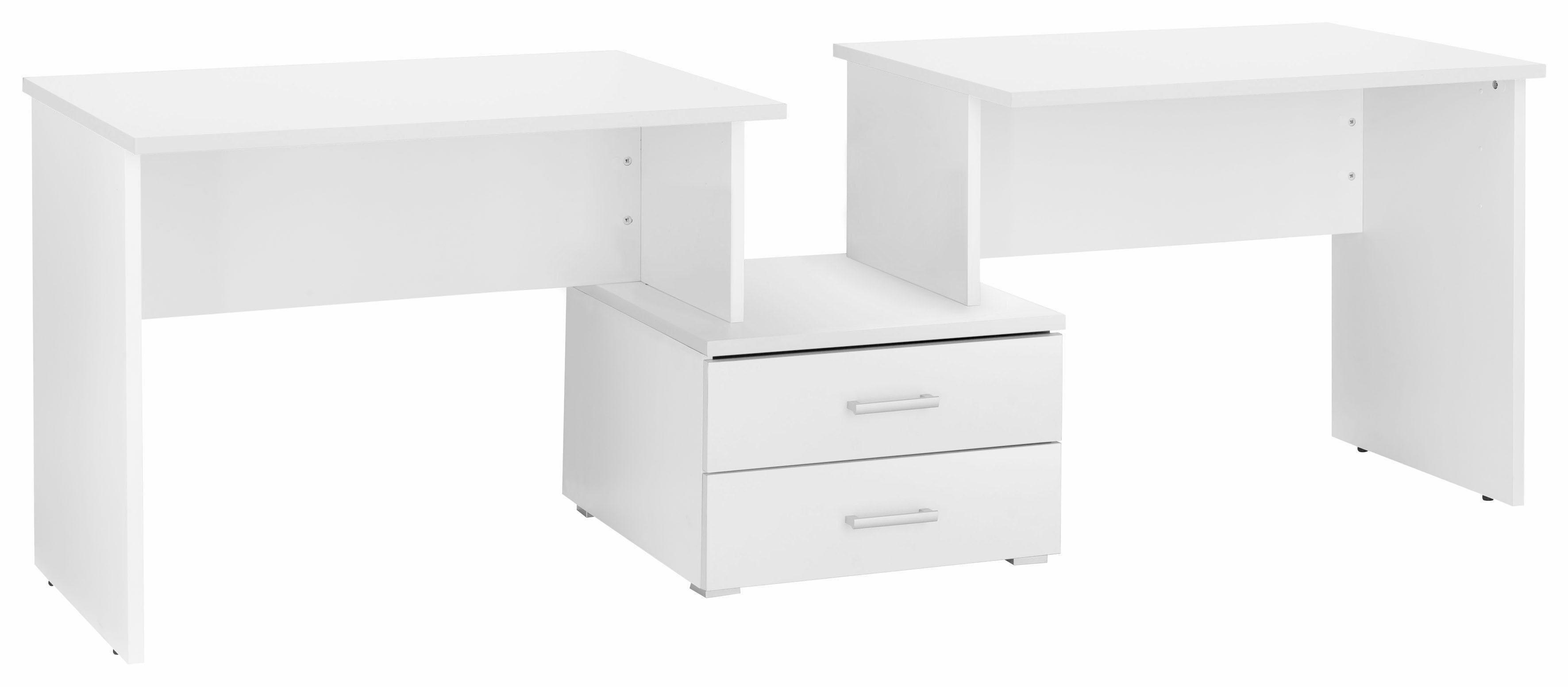 Doppel-Schreibtisch »Cubi« | Büro > Bürotische > Schreibtische | Weiß - Glanz | Melamin
